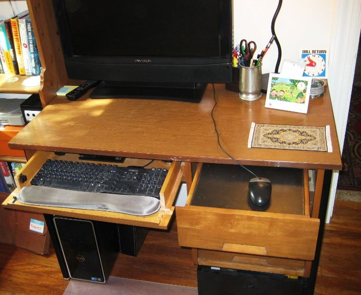 Converting A Desk Into A Computer Workstation Desk With Drawers