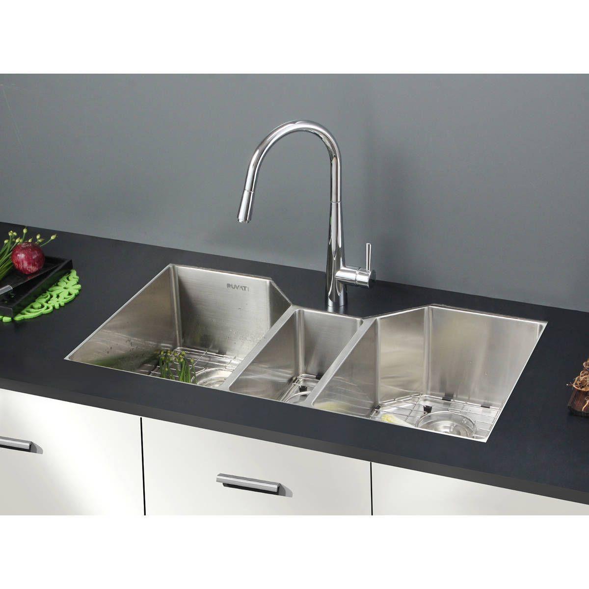 Triple Sink Kitchen Cottage Style Chairs Ruvati 16 Gauge Stainless Steel 34 Inch Bowl Undermount Rvh8500 Silver Size Over 22