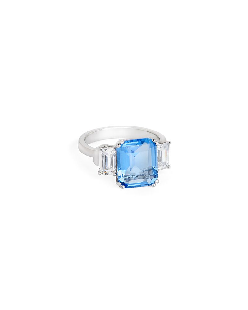 3f1b67230 Sterling silver ring with emerald-cut Swiss blue topaz and white topaz  accents