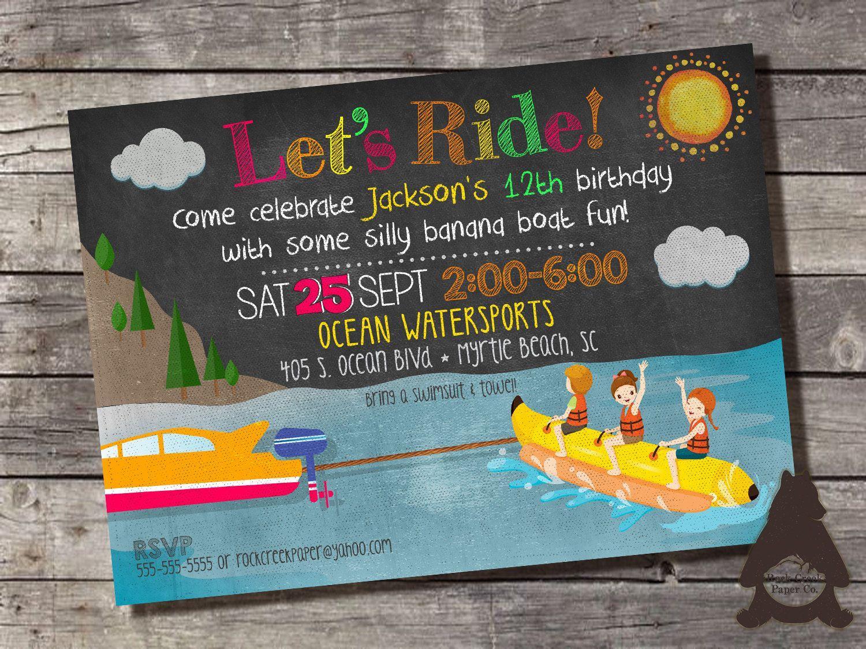 Banana Boat Invitation, Banana Boat Birthday, Lake Birthday Party ...