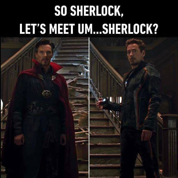 Same name, same experience but different face.   #infinitywar #sherlock #benedictcumberbatch #RobertDowneyJr