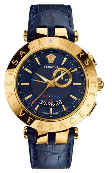 Versace  V-Race GMT  Round Leather Strap Watch, 46mm   Dreams ... 7dba7156cdc