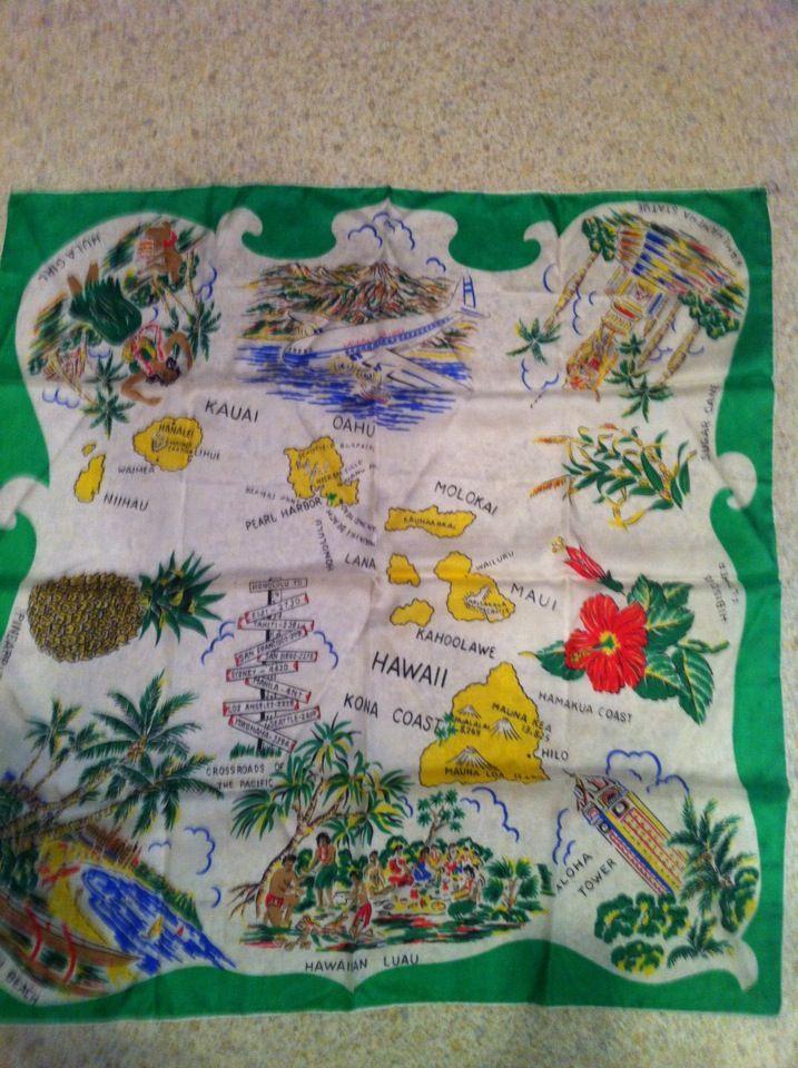 Vintage silk scarf map of Hawaii Vintage