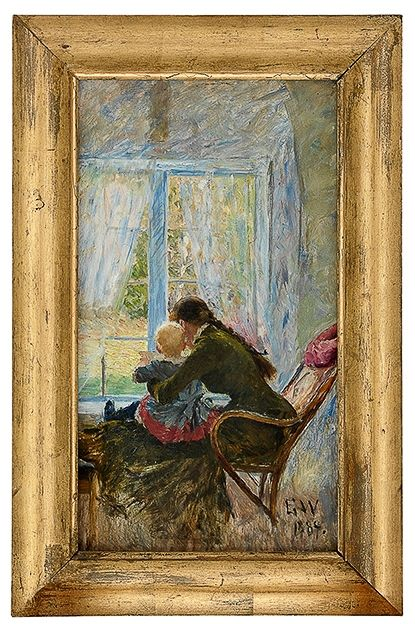 Erik Werenskiold (1855-1938): You and baby 1884