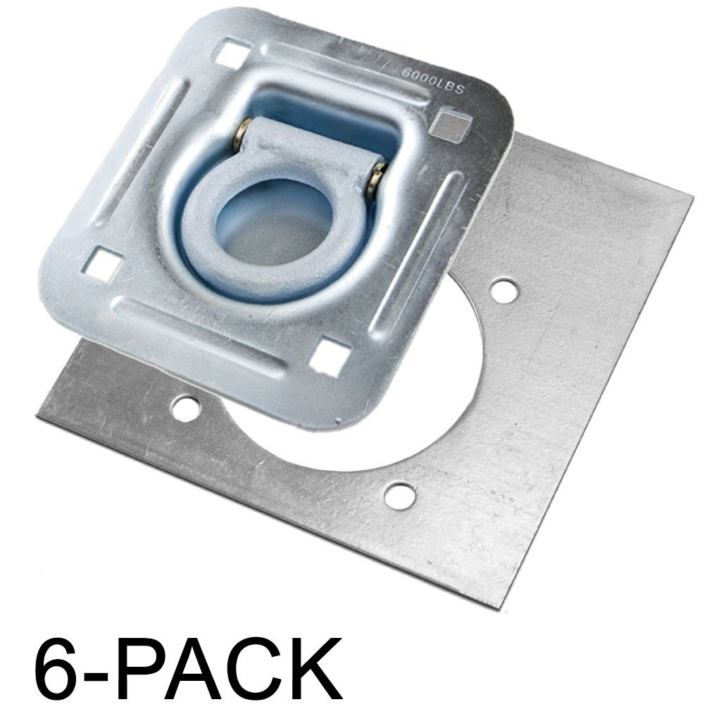Recessed D Ring 6 000 Lb Cap Tiedown W Backing Plate 6 Pack