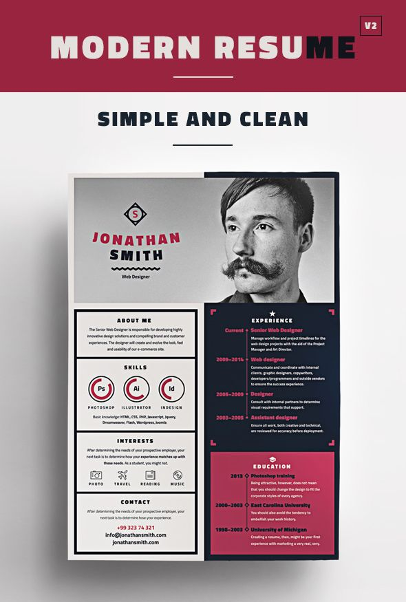 Modern Resume Template resumes Pinterest Modern resume - assistant designer resume