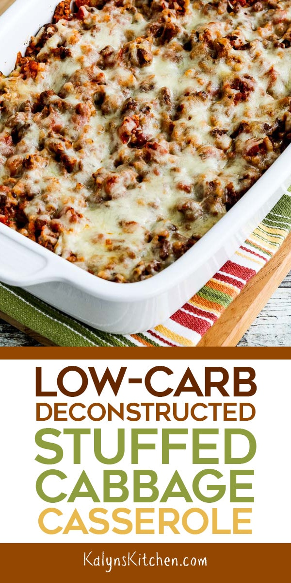 Low-Carb Deconstructed Stuffed Cabbage Casserole is a low-carb version of a super-popular casserole from the early days of my blog! [found on KalynsKitchen.com] #LowCarbDeconstructedStuffedCabbageCasserole #DeconstructedStuffedCabbageCasserole #LowCarbStuffedCabbageCasserole