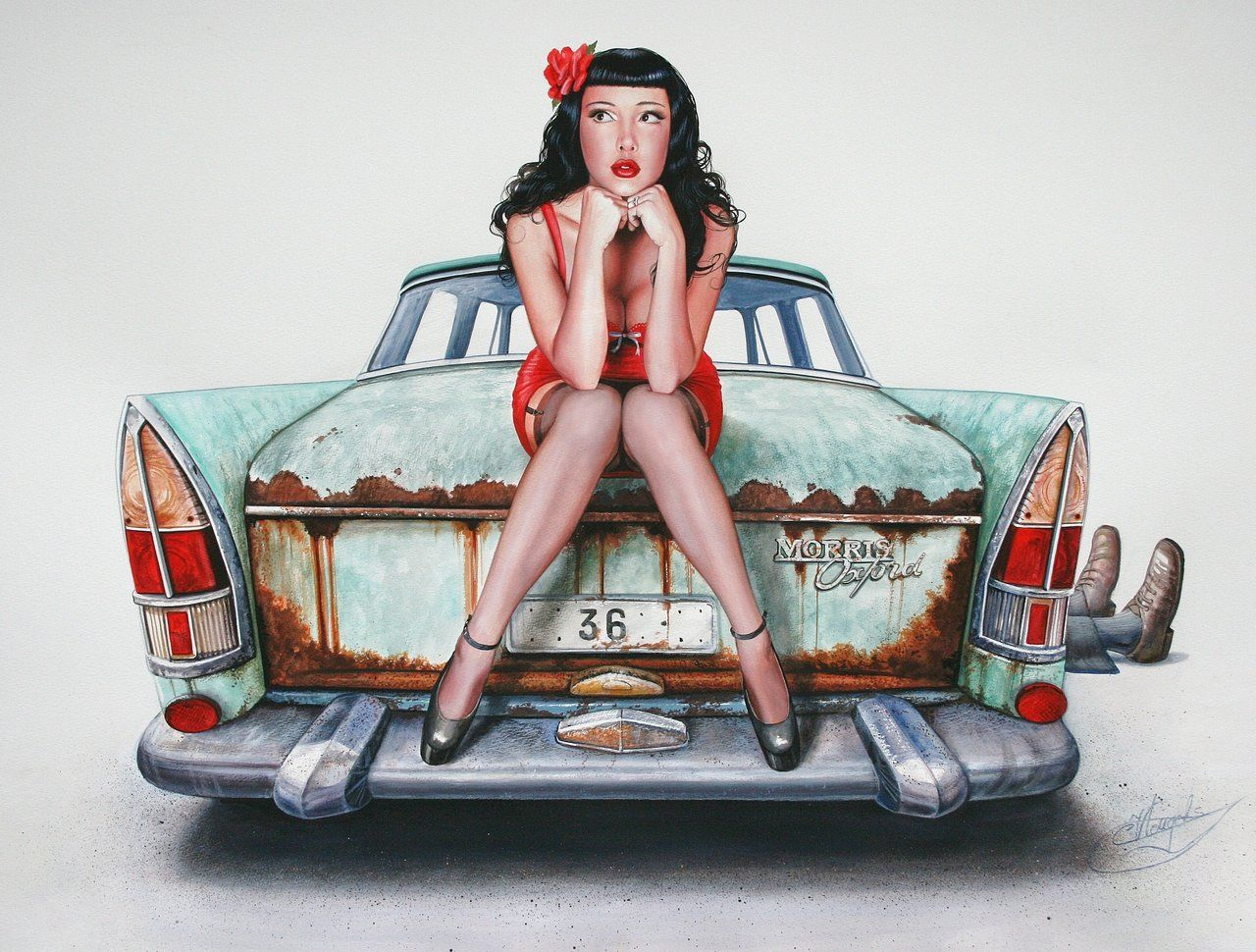 Vintage Classic Cars And Girls The Mechanic S Girlfriend Pin Up