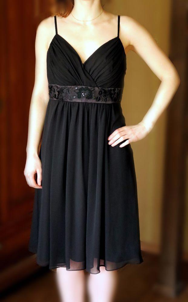 Marks Spencer Autograph brand black evening dress chiffon beaded ...