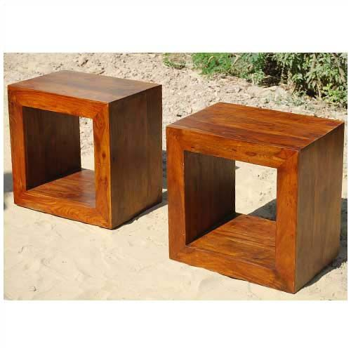 Solid Wood Block Coffee Table Book shelf Bed Side Table Set   Solid ...