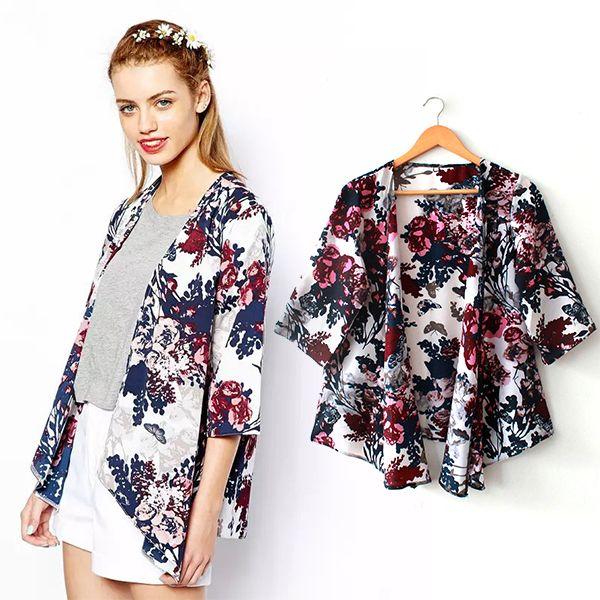 a4a6a9cad Encontrar Más Blusas y Camisas Información acerca de Mujeres de moda españa estilo  kimono de la gasa de la rebeca de la borla regulares blusa de estampado ...