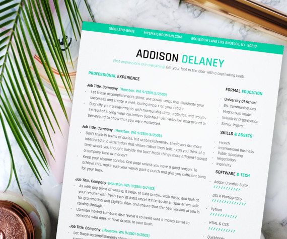 Modern Resume Template, Resume Instant Download, Modern Creative - modern professional resume