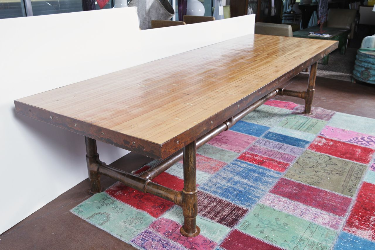 Vintage Bowling Alley Top Dining Table on Scaffolding Pipe Base ...