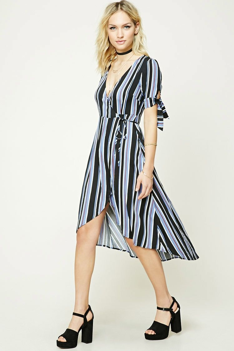Fashion · Striped Wrap-Front Midi Dress ...