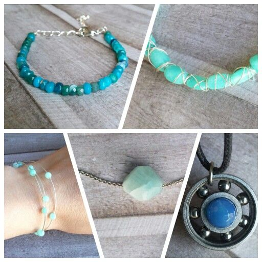 Gift ideas, jewelry with blue agate or aquamarine gemstones from cicadella.etsy.com