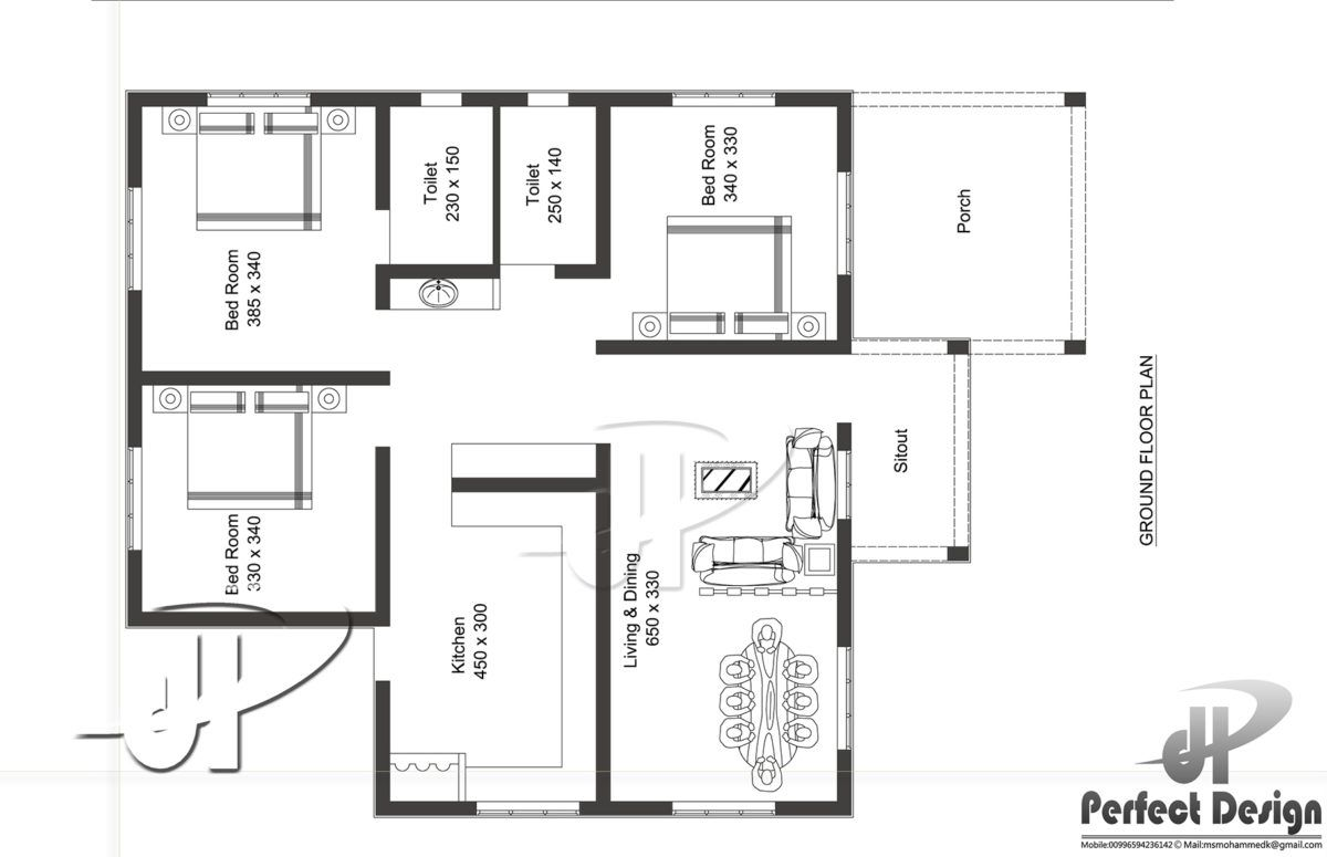 1097 Square Feet 3 Bedroom Contemporary Style Home Design and Plan ...