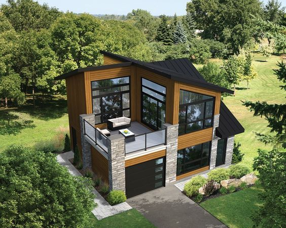 Dramatic Contemporary With Second Floor Deck House Construction Plan Contemporary House Plans Modern House Design