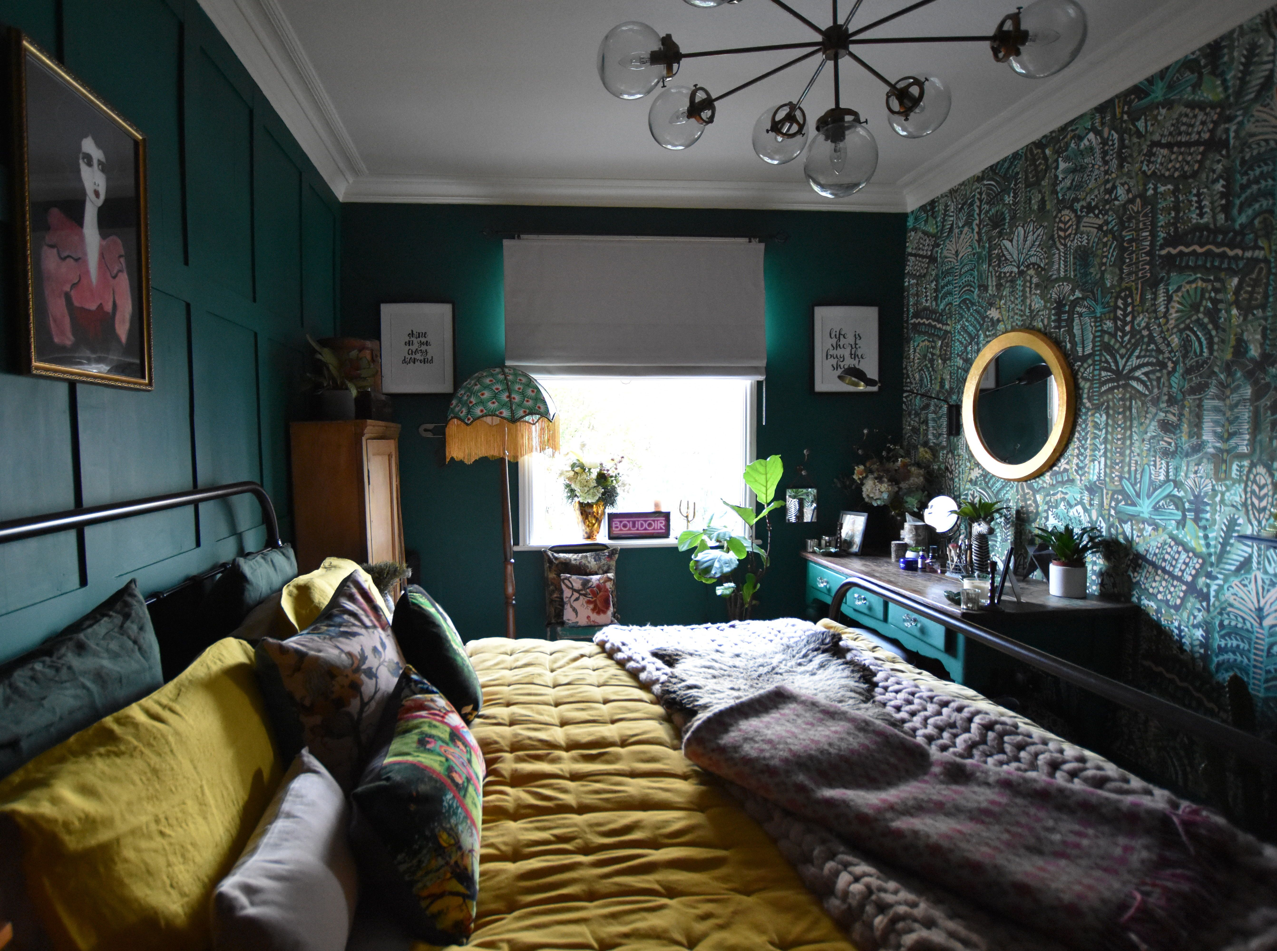 Maximalist Dark And Moody Green And Yellow Bedroom Yellow Bedroom Blue Green Bedrooms Eclectic Bedroom