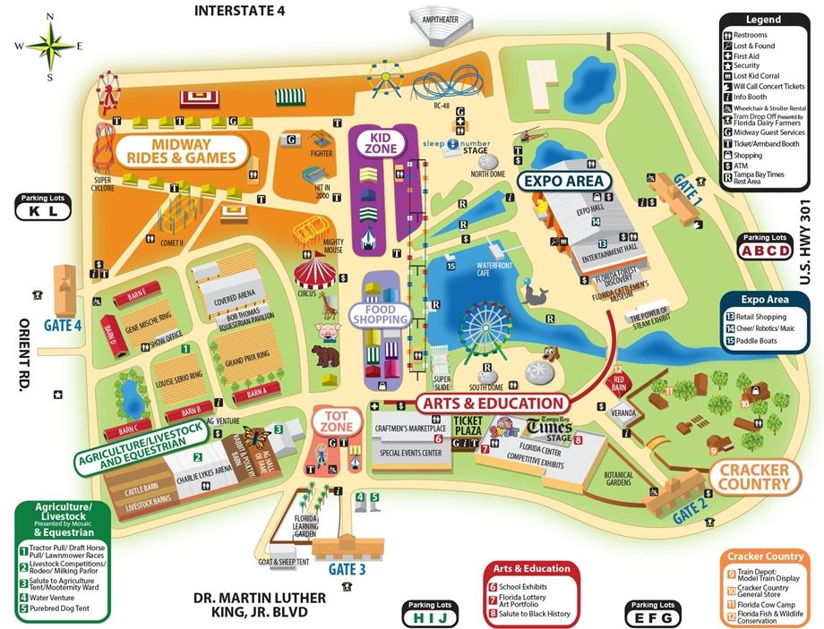 Florida State Fairgrounds Map.Florida State Fair Map February 9 20 2017 Clearwater St