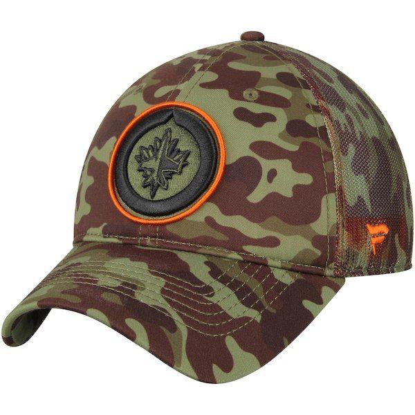 Men s Winnipeg Jets Fanatics Branded Green Recon Camo Trucker Adjustable Hat c4847c8dc0bd