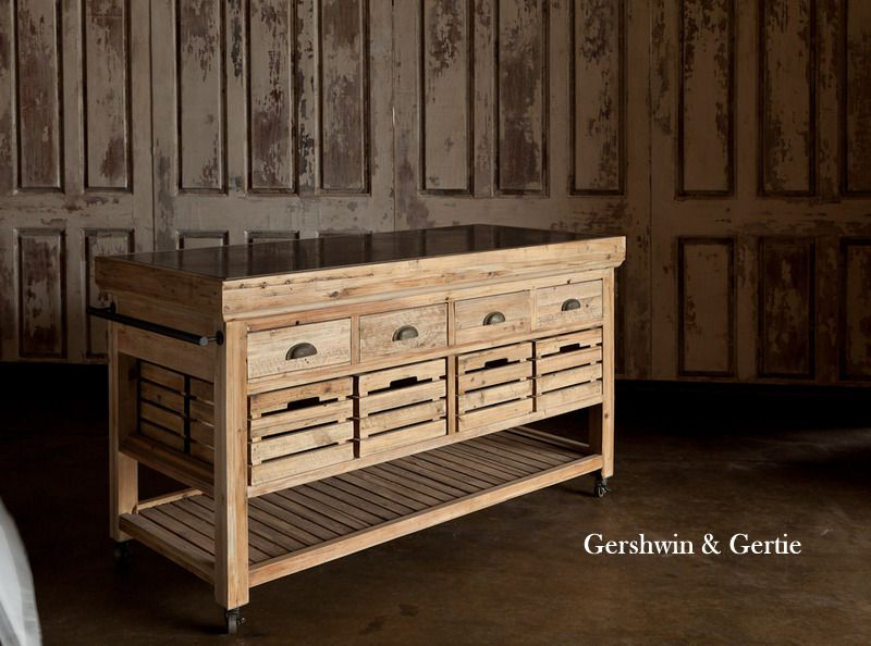 New Farmers Market Rolling Island With Marble Top Reclaimed Wood Wood Work Pinterest
