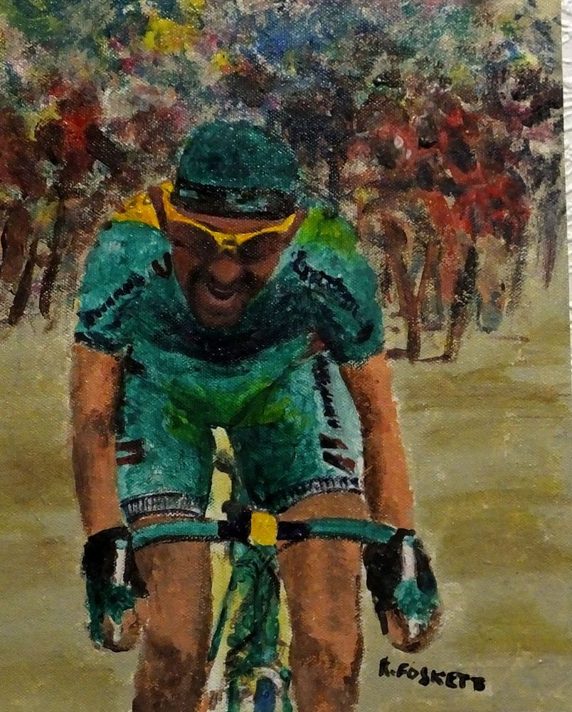 Marco Pantani Cycling oil painting on 407g cotton canvas unframed ...
