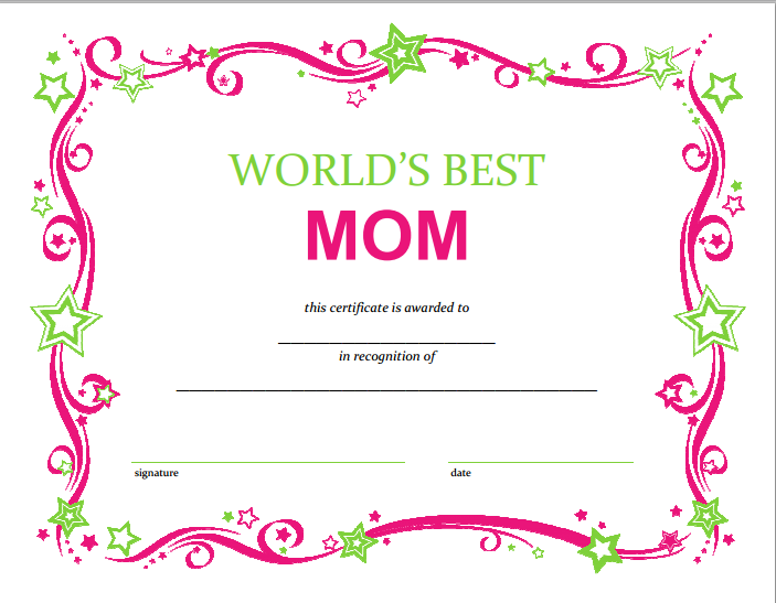 image relating to Free Printable Funny Mothers Day Cards named No cost Moms Working day Printable Certification Do-it-yourself Crafts