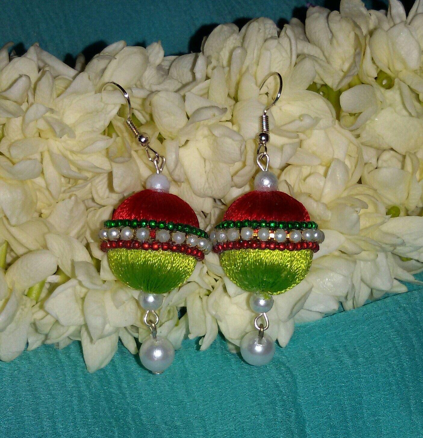 f63cfc361 Red and light green silkthread earrings with pearls and ball chain #silk  #SilkThread #Earrings #indian #Handmade #Jewellery #DIY #Unique #ballchain