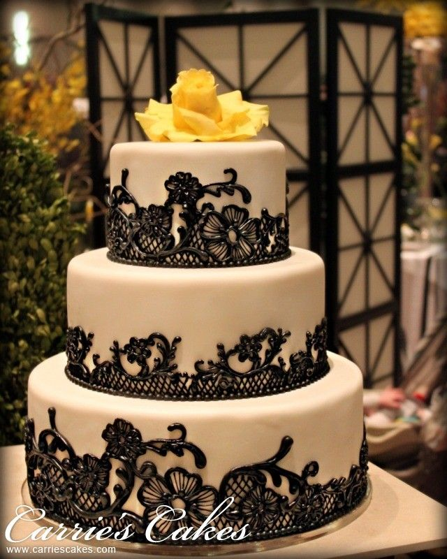 black lace wedding cakes black lace wedding cakes black and yellow 11869