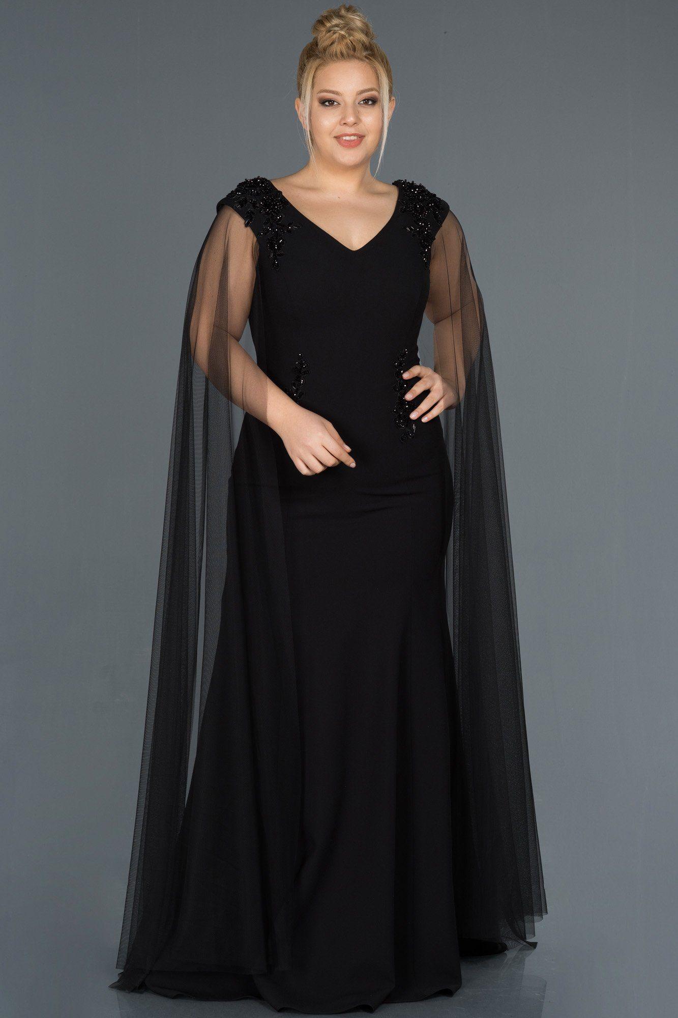 Siyah Uzun Pelerin Kollu Buyuk Beden Abiye Elbise Abu1136 2020 Elbise The Dress Siyah