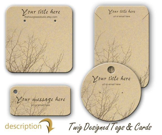 Earring Cards Jewelry Necklace Display Bracelet Tags Twig Design Product Persona
