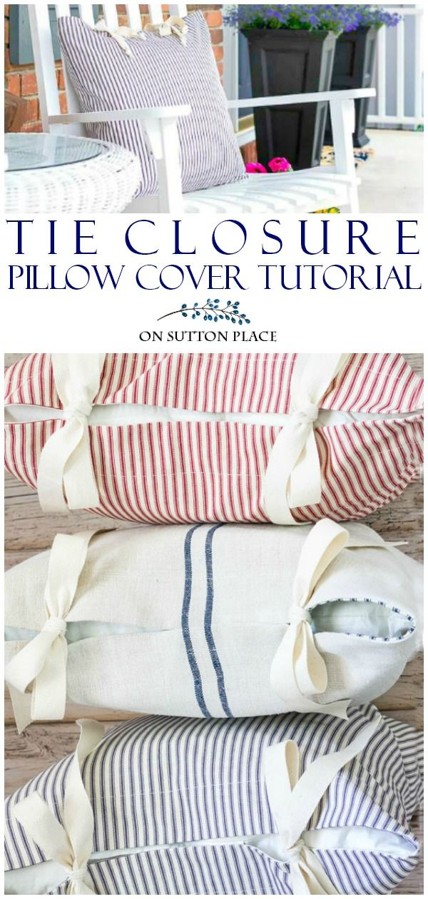 Learn to sew custom pillows on your own with this tie closure tutorial. Includes step-by-step directions that are easy to follow. Only straight line sewing required! #sewing #sewingtutorial #sewingprojects #pillows #decoratingideas #diyproject