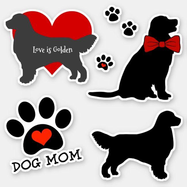 Golden Retriever Dog Mom Silhouette Group Sticker Zazzle Com