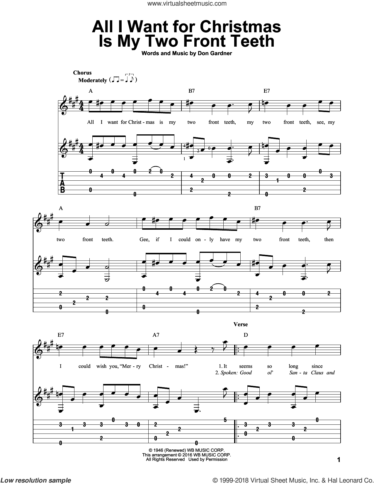 Slickers All I Want For Christmas Is My Two Front Teeth Sheet Music For Guitar Solo Sheet Music Christmas Sheet Music Music Lessons