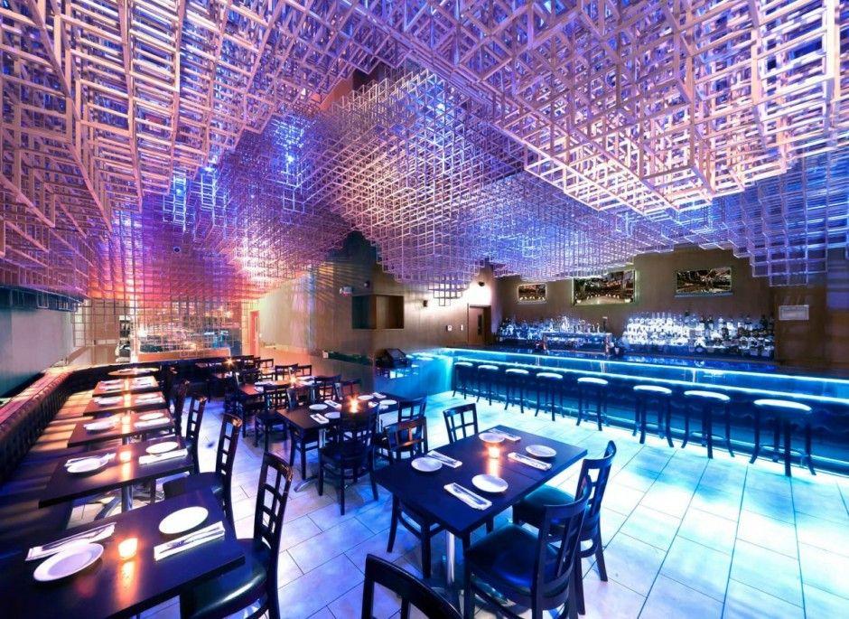 Innuendo Restaurant Ceiling Installation Design By Bluarch
