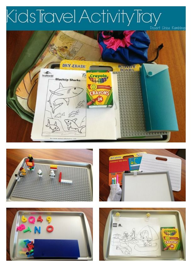easy diy kids travel activity tray with legos magnets whiteboard and coloring activities
