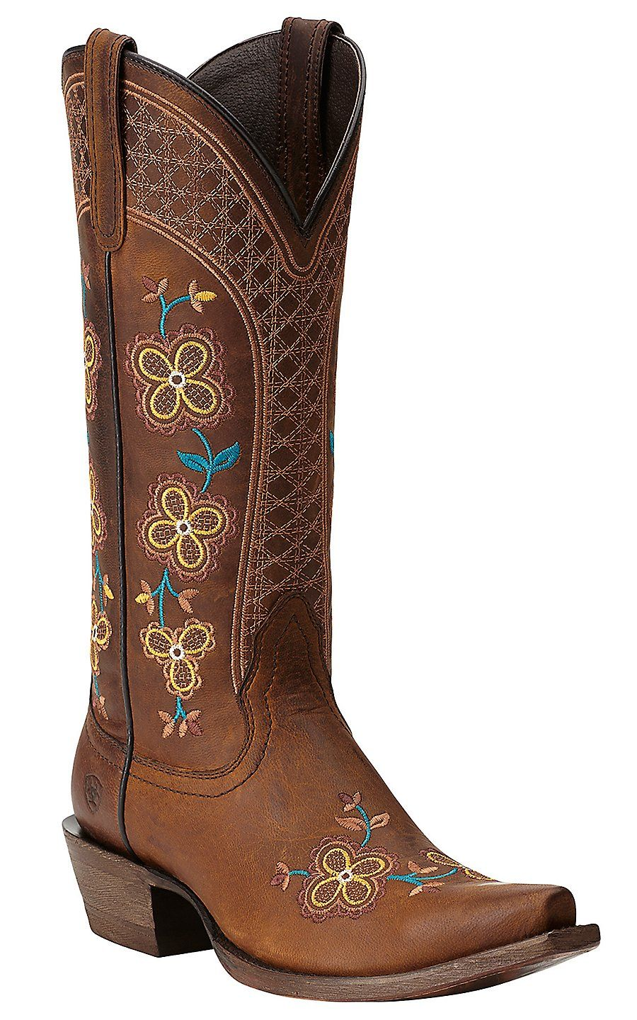 Ariat New West Women S Sundance Weathered Brown With Floral Embroidery Snip Toe Cowboy Boots Boots Cowgirl Boots Shoe Boots