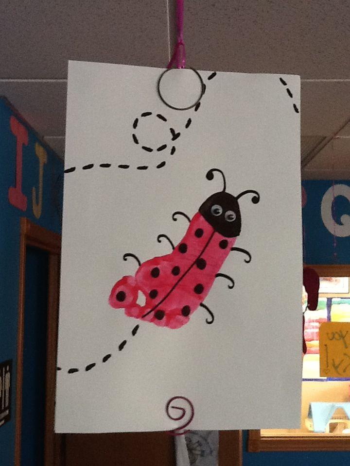 Ladybug Footprint Craft Infant Toddler Room Spring Crafts