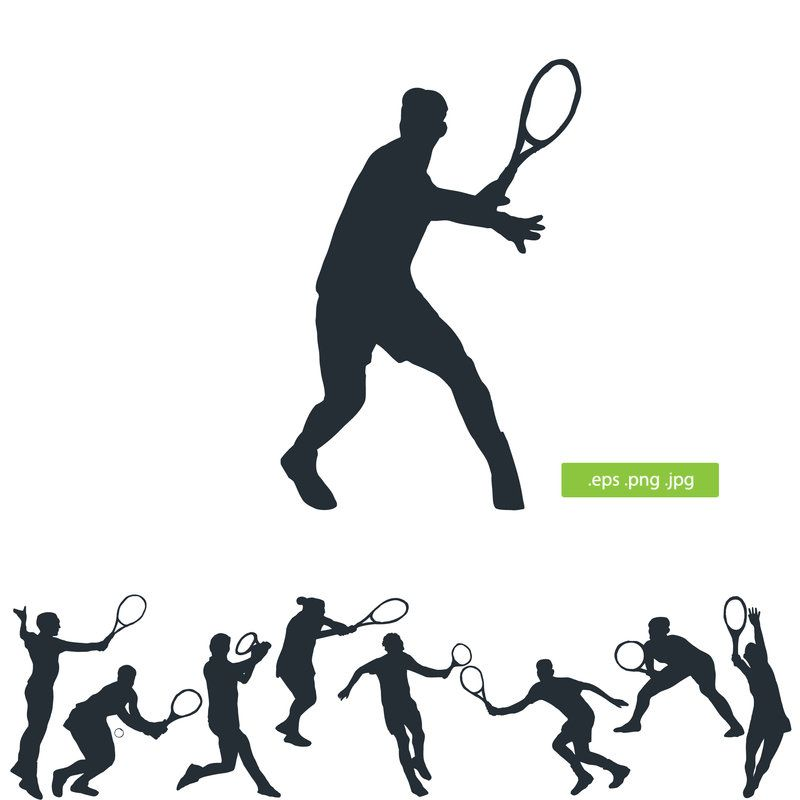 Tennis Player Vector Silhouette Silhouette Tennis Tennis Players