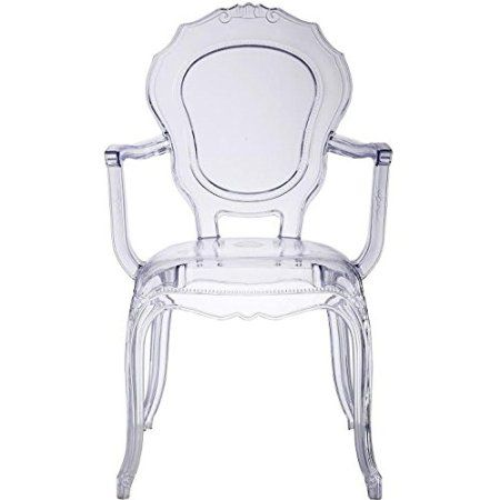 Homelala Clear   Modern Contemporary Belle Style Dining Chair Ghost Armchair  Ghost Chair With Arms Ghost Arm Chair Clear Transparent