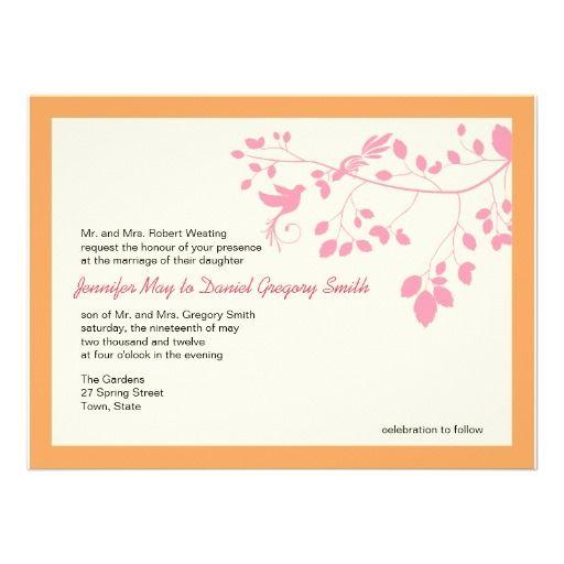 Pink And Orange Wedding Invitations Love Birds Yellow Wedding Invitations Orange Wedding Invitations Purple Wedding Invitations