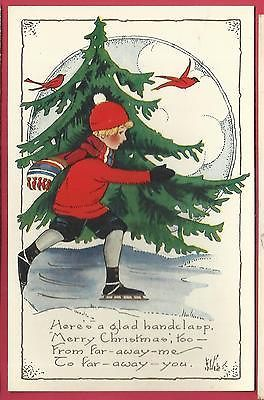 Christmas vintage embossed postcard/ little boy in ice skates/red birds/pinetree