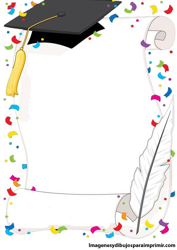 A simple black and white border featuring a graduation cap ...
