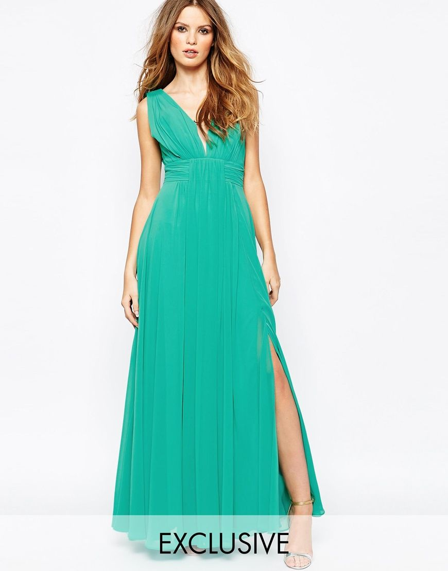 Fame and Partners Valencia Pleated Maxi Dress With Wrap Front | Duds ...