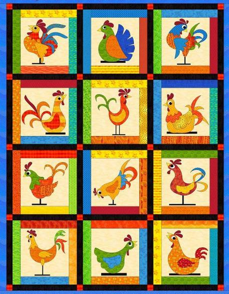 Funky Chickens Applique Quilt Pattern Chicken Quilt Applique