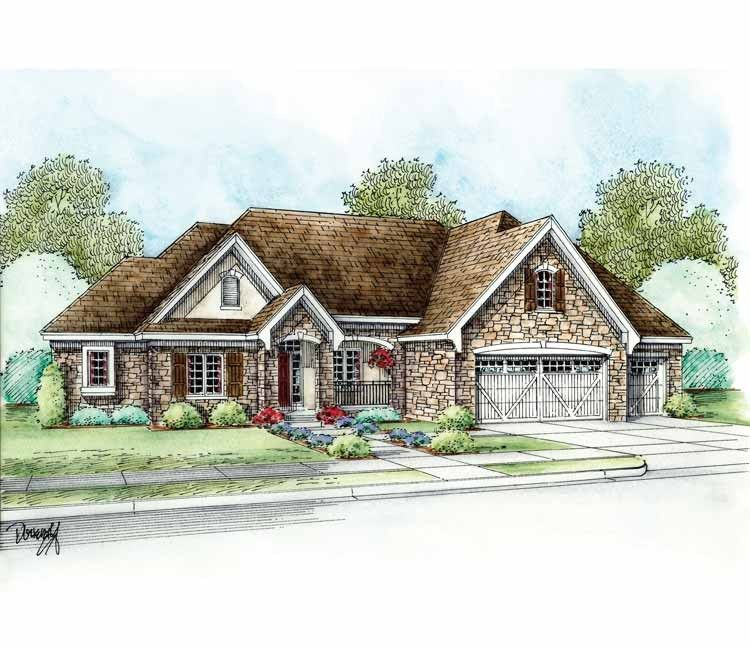 French Country House Plan with 2701 Square Feet and 3 Bedrooms from