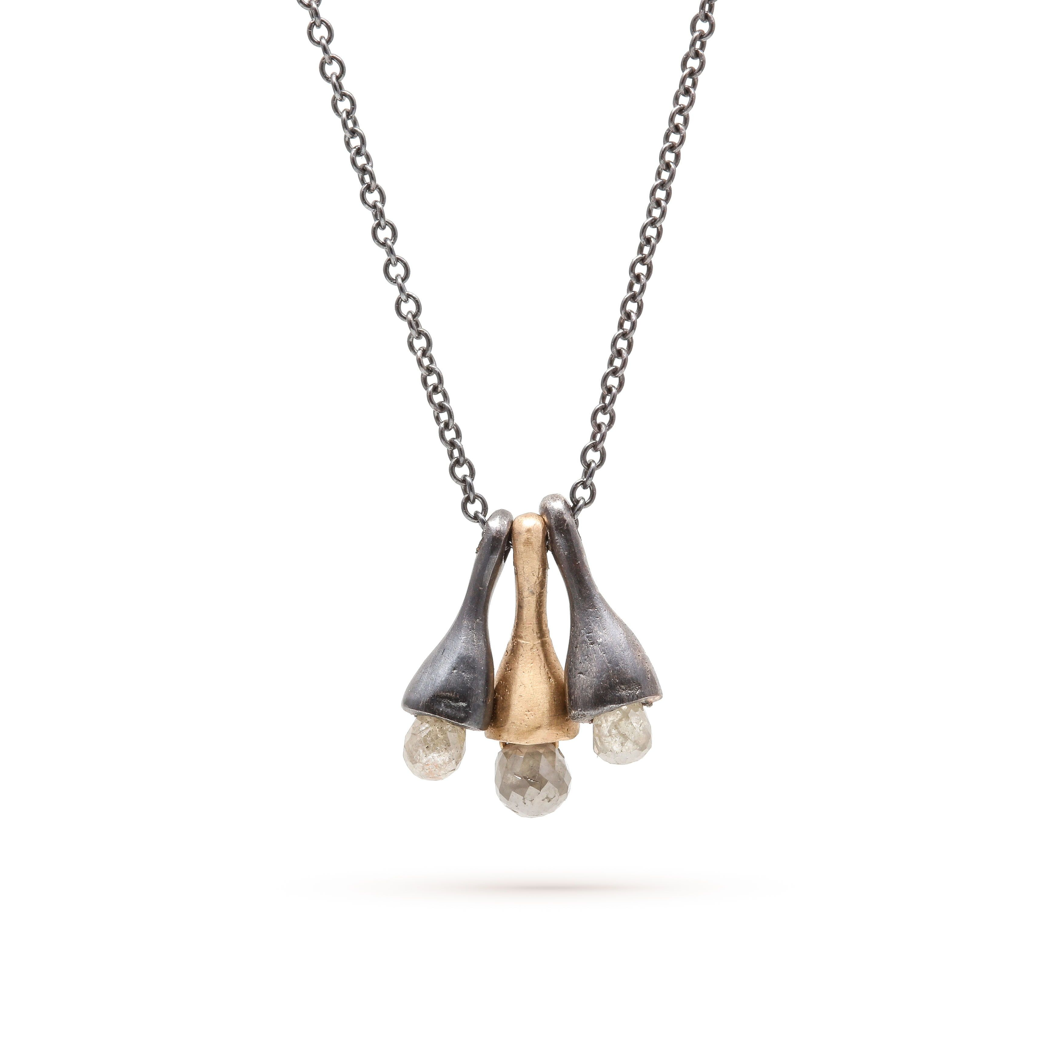 rebeccaovermann oxidized silver and gold necklace made in SF