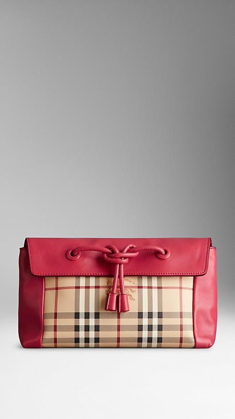 305553062be8 Small Leather and Haymarket Check Clutch Bag