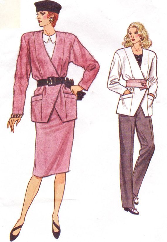 80s Womens Double Breasted Jacket, Skirt & Tapered Pants Vogue ...