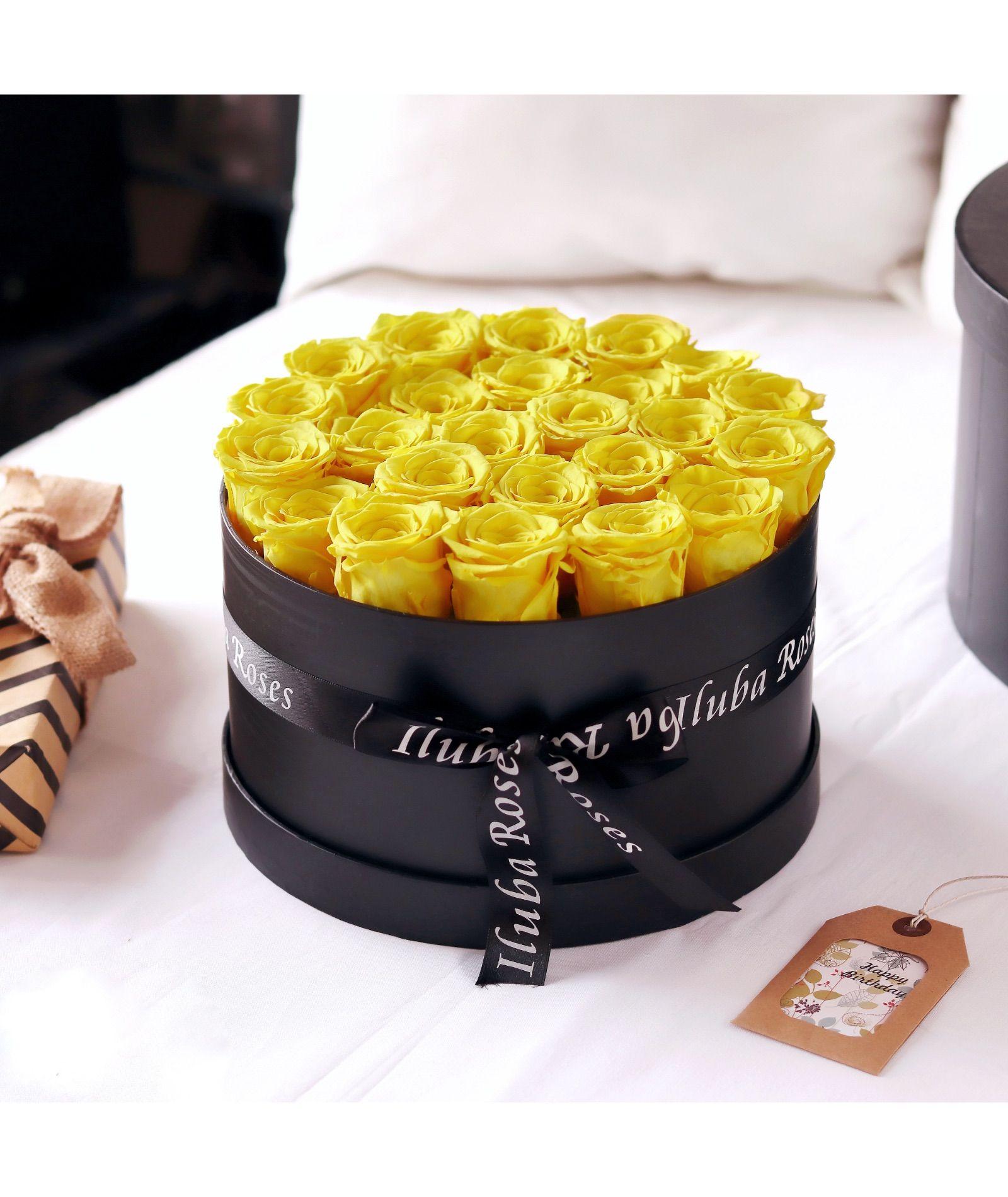 صندوق ورد ايلوبا روزز طبيعي دائم Yellow Rose Flower Rose Gift Beautiful Bouquet Of Flowers